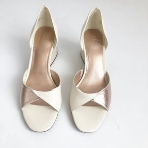 Halston white and metallic block heel